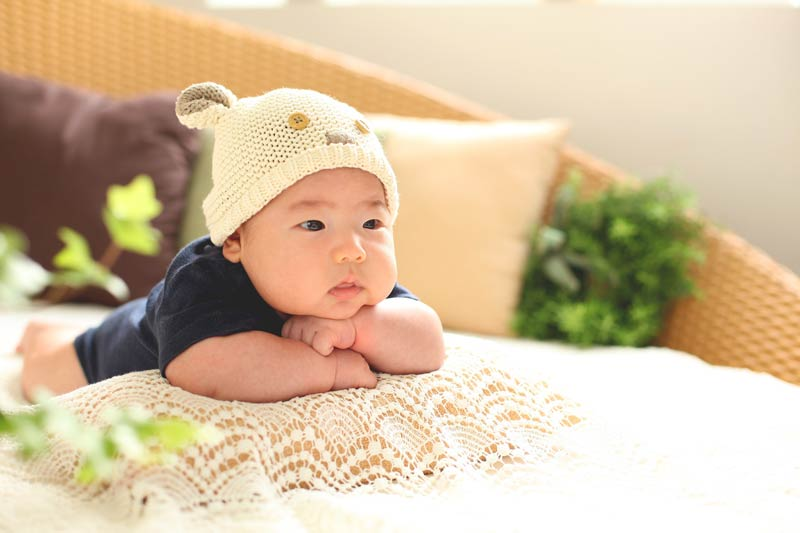 baby on pillow